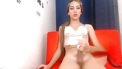 Blonde teen shemale cumming on cam