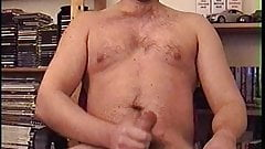 Cumshot after edging on a chair watching my horny neighbour