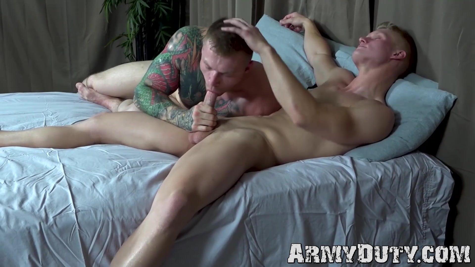 Athletic blond soldier doggystyle barebacks tattooed comrade