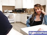 Attractive step sister blackmailed into giving blowjob
