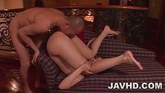 Maria Ozawa sucks two cocks in a dirty threesome