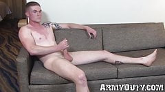 Tall serious soldier Nathan Vine solo strokes his long cock