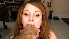 Cute girl gets deep throat training