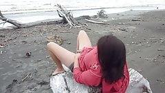 masturbating on the beach