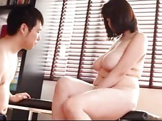 Japanese big titted stepmom educates son about sex