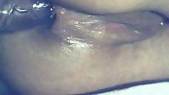 Close-up of chick anal dildo on cam