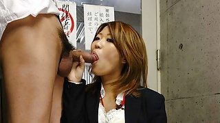 Asian slut gobbles up the dick that made her wet down stairs