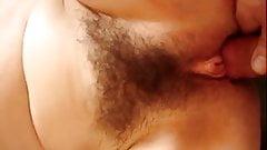 Hairy pussy big lips closeup