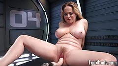 Busty blonde rubs pussy before dildo toying