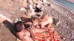 Amateur couple fuck on a rocky beach