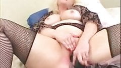 Pierced BBW blonde MILF in fishnet stockings