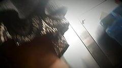 Winter upskirt bbw black lady no panties in grocery store