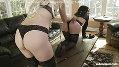 tooed chick submissing her slave into blowjob and dildo fuck