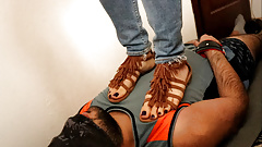 Hard Trample with Brown Sexy Gladiator Sandals