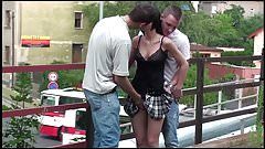Petite teen girl fucked hard in PUBLIC threesome