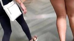 Ebony teen wedgie booty in little shorts