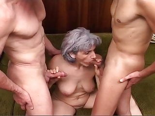 Grey-haired Granny Gets Blasted By Pair Of Cocks