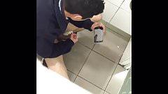 Caught brazilian boy cumming twice in restroom