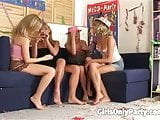 Lovely lesbians having a foursome