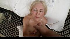 Blonde MILF takes messy facial