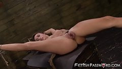 Petite and bound Marina Angel stretched by maledom cock's Thumb
