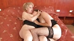 Two matures take two bbc cocks
