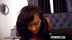 POVMania.com - Dark Skinned Akyra Lee Mouth Fucks Miles Long