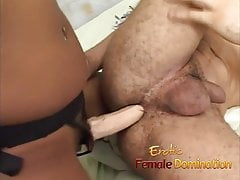 Black girl sucks a white guy's cock and dominates his ass