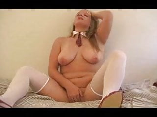 Chubby Blonde With Glass Dildo