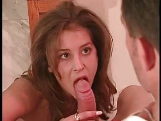 Busty lifeguard takes a thick cock deep inside her mouth