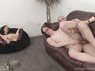 Girlfriend masturbates while her lover fucks someone