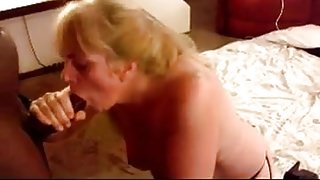 Mature wife jerking his BBC to get his nectar