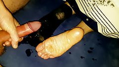 Cum on soles in sock and bare while she fingers her pussy