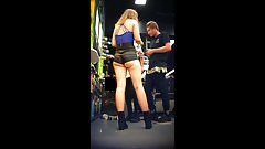 club girl with insane ass cheeks in tight leather shorts