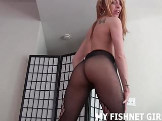 I want to rub your cock with my feet in fishnets JOI