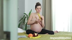 Pregnant, Stripping and Masturbating with a Banana!