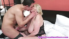 Beautiful grandma banged in lingerie