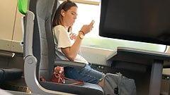 Cute teen on train