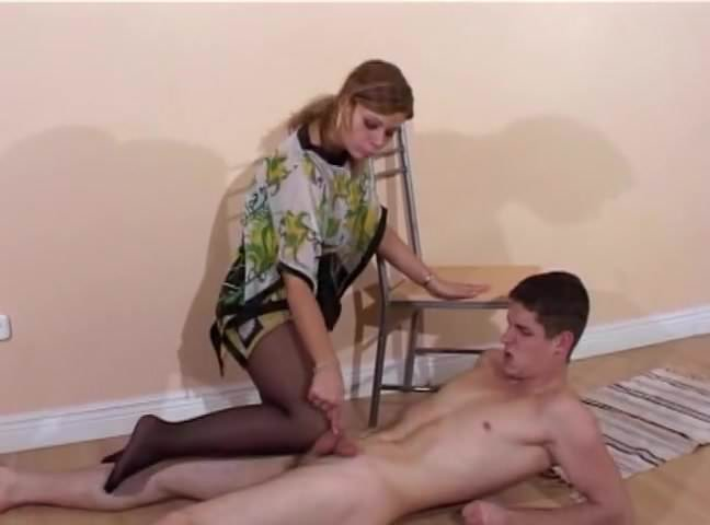 A girl showing her pussy