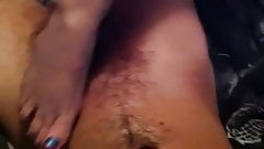Mature rubs my cock with her soft sexy feet..
