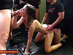 Beautiful young Lana tries get her first Pissing gangbang