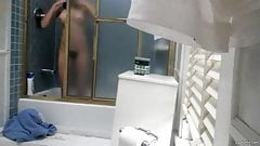 Spy cam of hairy sister taking a shower