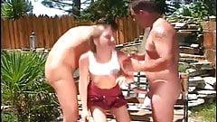 Sweet TEEN Enjoys 2 Hard Cocks...