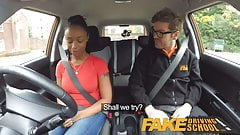 Fake Driving School ebony learner with big tits