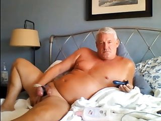 beautiful dad plays with his cock
