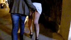 horny greek couple walking and fingering upskirt.Kolara