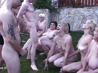 Eight mature women on eight hard cocks