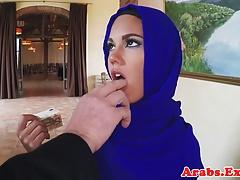 Muslim beauty fucks for cash