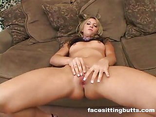 Slut fingers herself and fucks two horny hung studs