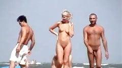 blonde in nudist beach